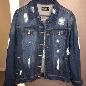 Jackets & Blazers - Distressed oversized jean jacket
